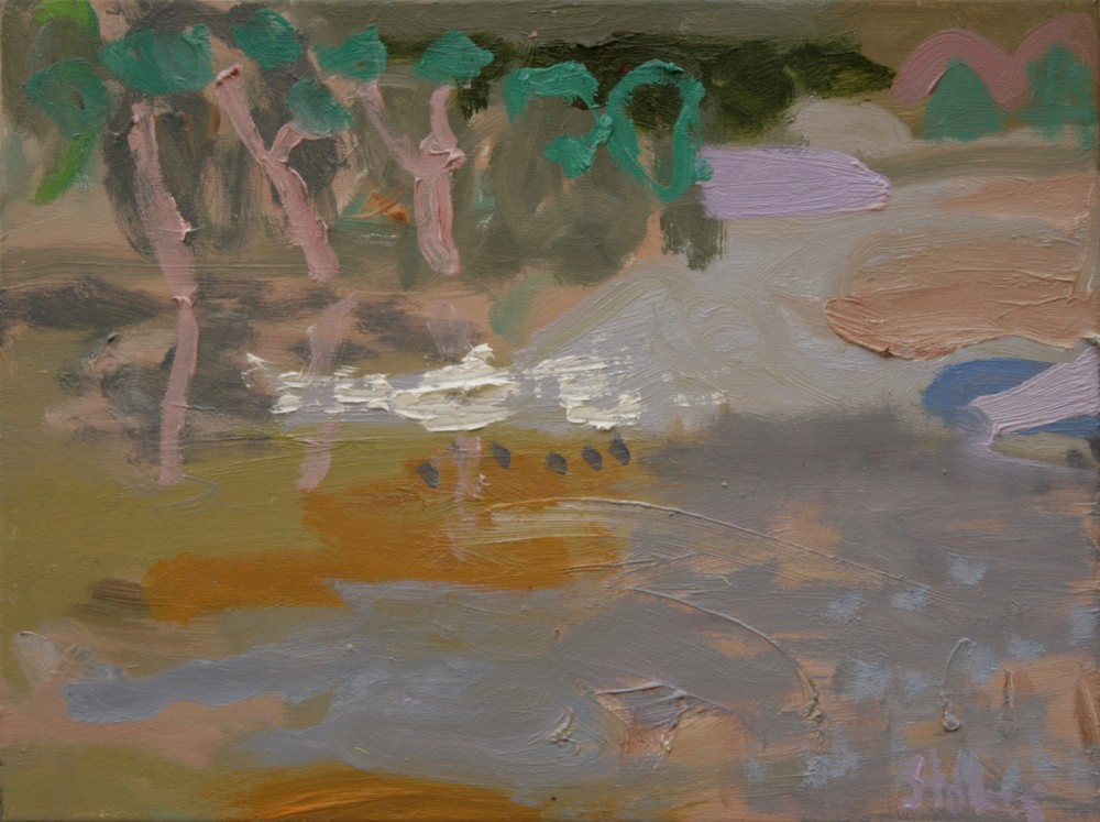 Trees on the river SOLD by Sally Stokes