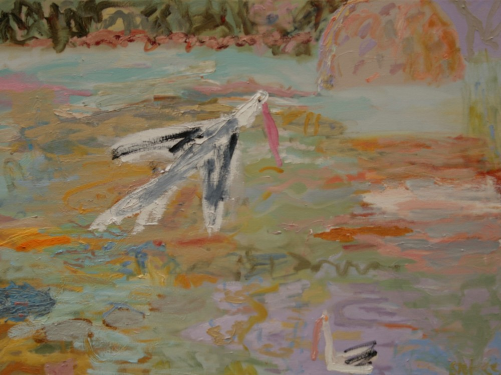 Pelican flying SOLD by Sally Stokes